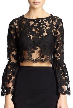 Alexis Vito Sheer Lace Bell-Sleeved Cropped Top