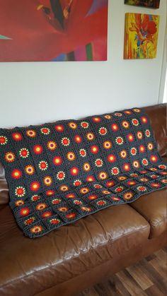 Granny Squares Grey Neon Crochet BLANKET Retro by Thesunroomuk