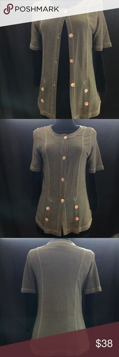❤️SALE2DAY❤️Carol Little Shirt Jacket S Awesome Vintage Carole Little Acetate & Spandex Shirt Jacket w/ Button & Stitching Detailing. Green, Black, Cream chevron pattern. Looks great open or buttoned up. Very nice weight and drape to this piece. Minor signs of wear. Carole Little Jackets & Coats