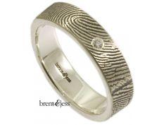 From www.brentjess.com - Wrapped Fingerprint Wedding Band with Tiny Diamond - Custom handmade fingerprint jewelry by Brent