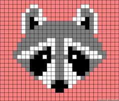 Racoon perler bead pattern, moliie makes waschbar stulpen/mittens Hama Beads Patterns, Loom Patterns, Beading Patterns, Beaded Cross Stitch, Cross Stitch Embroidery, Cross Stitch Patterns, Knitting Charts, Knitting Patterns, Crochet Patterns