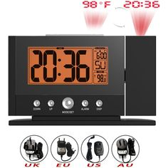 BALDR B0211S Digital Thermometer Snooze Alarm Clock Wall Ceiling Constant Projection Desk Temperature Time Display Backlight