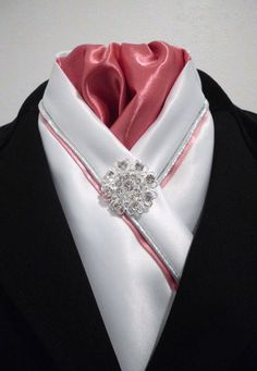 White and rose pink Equestrian Pzazz show/dressage stock tie http://facebook.com/equestrian.pzazz Please visit our page for more stunning and unique designs