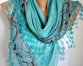 ON SALE -Cotton Weddings Scarves - Cowl with Lace Edge - Teal