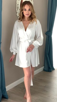 Greece Discover Wedding robe Puff sleeves bridal robe Sheer robe Short bridal robe White robe Robe with long sleeves Wedding lingerie Gift for bride Bridal Undergarments, Wedding Lingerie, Luxury Lingerie, Casual Dresses, Fashion Dresses, Summer Dresses, Women's Casual, Mode Turban, Most Beautiful Dresses