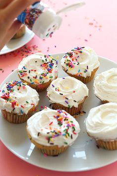 SIMPLE One Bowl Vegan Funfetti Cupcakes! Fluffy, sweet and LOADED with sprinkles!! #vegan