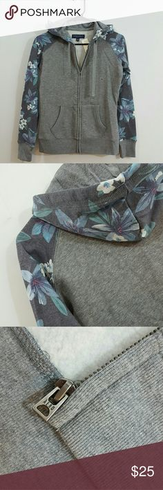 NEW Aero floral sleeves Fleece hoodie Aeropostale Grey with floral sleeves soft fleece hoodie. Size XS. New with Tags. Aeropostale Sweaters