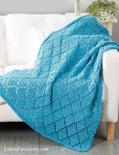 Lace Throw Crochet Pattern Free ~Add some elegance to any couch with this lattice design