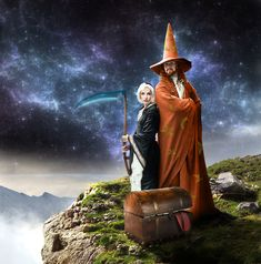 An image of Rincewind, the most inept wizard on the Discworld and Susan Sto-Helit, a Duchess and adopted Grand-daughter of Death. With Rincewind as always is the Luggage, which runs around on many legs and likes to eat things bigger than it is in one bite. They are set on top of the tallest mountain on the disc, with the rim in the distance.