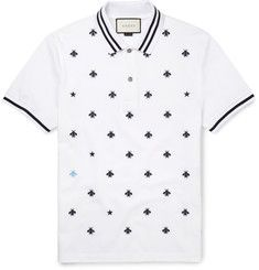 Gucci Slim-fit Embroidered Cotton-blend PiquÉ Polo Shirt In White Cotton Polo Shirt Outfits, Polo T Shirts, Men's Polos, Camisa Polo, Gucci Men, Gucci Gucci, Fendi, Burberry, Mens Designer Polo Shirts