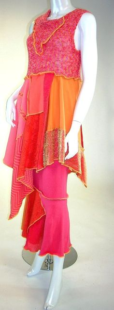 Coral and Melon Sleeveless Cool Breeze Tunic and Skirt Set, Size Medium ( 8-10-12) | by brendaabdullah