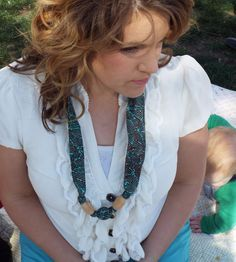 Nursing Teething Necklace- 100% cotton fabric covered natural wooden beads-Teal Strips