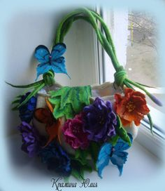 Felted handbag Wet felt butterflies-White by YuliasFeltworld