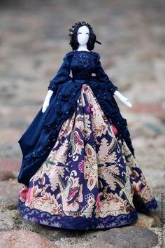 «Маркиза ангелов»Интерьерная кукла в стиле тряпиенс - тёмно-синий,тряпиенс