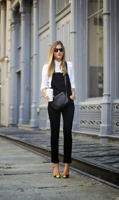 48 Ideas For How To Wear Overalls In Winter Street Style Dungarees Black Dungarees Outfit, Dungarees Outfits, Cute Overalls, 30 Outfits, Fall Outfits, Casual Outfits, Office Outfits, School Outfits, Fashion Outfits
