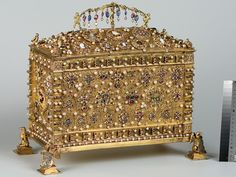 A small chest given by Sigismund the Old to his daughter Hedwig, on the occasion of her marriage to the Duke of Brandenburg, marked with the coats of arms of Lithuania and Poland and with the initials of Sigismund the Old, 1533 (Hermitage Museum, St Petersburg).