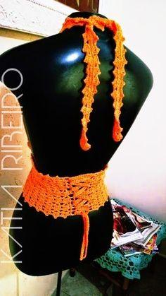 Cropped top de crochê com receita e vídeo - Katia Ribeiro Moda e Decoração Handmade