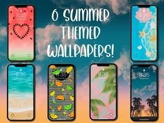 Summer Themed Phone Wallpapers (Set of 6)