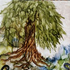 Tree in alcohol ink on stone tile. By Tina SOLD