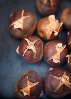 JUST BE SURE THEY ARE NOT HORSE CHESTNUTS they can be poisonous.  Trust me I speak from experience!!! (SLH) how to roast chestnuts