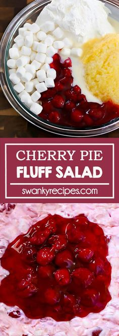 Cherry Pie Fluff Salad - Easy no-bake cherry dessert salad with pineapple, whipped cream, and cherry pie filling all in one bowl. Serve at a potluck or as a quick dessert or side dish recipe. Cool Whip Desserts, Cherry Desserts, Delicious Desserts, Yummy Food, Yummy Eats, Vegan Desserts, Potluck Desserts, Dessert Salads, Fruit Salads