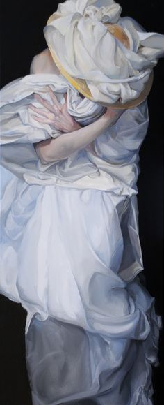 """Ephemeral"" - Olga Brown {contemporary art figurative female woman hat oil painting} Spectacular folds !!"