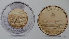 The Toonie and Loonie coins.