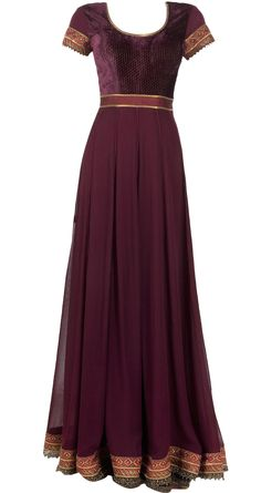 Maroon embroidered anarkali set available only at Pernia's Pop Up Shop.