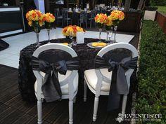 Sweet Heart Table! Pewter Splendor Linens, Silver Taffeta Sashes, P. Yellow Napkins by Eventiste.