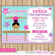Gymnastics Invitation African American Design Digital File