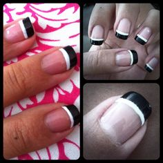 french pedicure with black line - Google Search