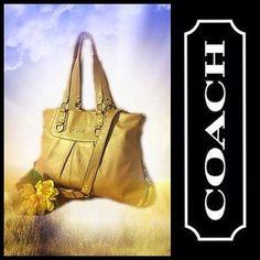COACH Ashley Champagne Leather Convertible Satchel Bag Handbag Purse F15513