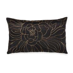 Coussin rectangulaire 30x50cm noir aux motifs coloris cuivre Noir/Cuivre - Flower - Les coussins - Coussins décoratifs - Linge de maison - Décoration d'intérieur - Alinéa
