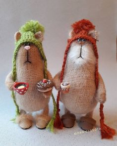 It's coffee time ~. Diy Crochet And Knitting, Crochet Bunny, Crochet Animals, Knitted Dolls, Plush Dolls, Crochet Dolls, Comic Cat, Toddler Gifts, Plush Animals