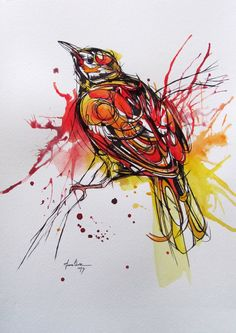 Red and Yellow Bird watercolor