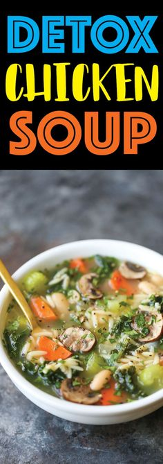 Detox Chicken Soup | Detox Chicken Soup - Cleansing, immune-boosting soup packed with all the good stuff (kale, mushrooms, celery, carrots, etc.) without compromising any taste!