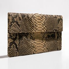 Cream and black python clutch by Verinosa More colors www.verinosa.ee