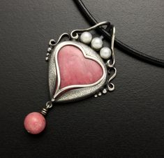 Pink rhodonite heart pendant with pearls by KAZNESQ on Etsy, $250.00