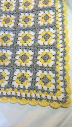 Gray and Yellow Baby Blanket Crochet Handmade by littledarlynns