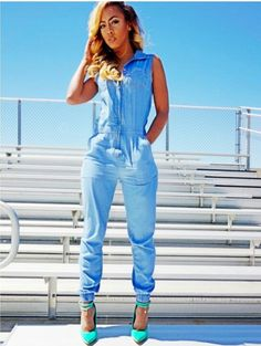 Denim Jogger Jumpsuit