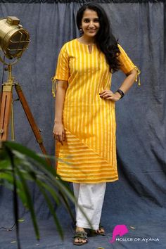 Daisy Lined Silk Kurti - House of Ayana Plain Kurti Designs, Simple Kurta Designs, Silk Kurti Designs, Churidar Designs, Kurta Designs Women, Kurti Designs Party Wear, Latest Kurti Designs, Sleeves Designs For Dresses, Dress Neck Designs