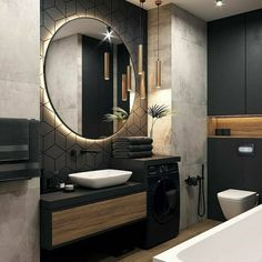 Backlit LEDs give you that extra bit of light that you need to be precise without being uncomfortable to the eyes. Bathroom Design Luxury, Modern Bathroom Design, Modern House Design, Interior Design Career, Bathroom Design Inspiration, Design Ideas, Home Room Design, Loft Design, Beautiful Bathrooms