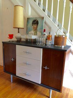 DANISH MODERN CABINET Midcentury 1950s Bar Credenza Refinished…