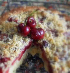 The English Kitchen: Cherry Crumble Cake recipe