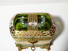 Bohemian Victorian Antique Gilt Enamel Glass Hand Painted Trinket Box Casket