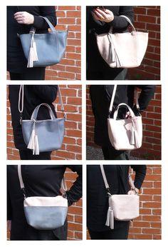 Pink & Grey Reversible Set of 2 Bags. Shopping/Tote bag, messenger bag/bag insert.