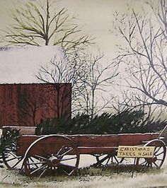 New Country Primitive Billy Jacobs CHRISTMAS TREES FOR SALE Picture Wall Hanging #Country