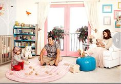 Jessica Alba and family in her beautiful nursery with our Hayes Glider and Moroccan Pouf!