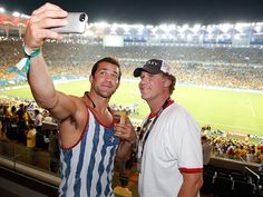 Luke Rockhold and Will Ferrell with the mophie selfie at the World Cup. #WorldCup2014