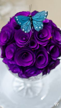 This purple wedding centerpiece is gorgeous and easy to make! Start out with your own Wood Curl Pomander Ball here: http://www.weddingstar.com/product/floral-pomander-ball-made-with-wood-curls